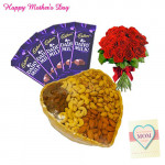 12 Red Roses in Bunch, 200 gms Assorted Dryfruit Basket, Dairymilk 5 pcs and Card