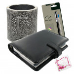 All for the Year - Leather Diary, Metal Pen Stand , Parker Pen & Card