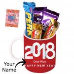 Mug with Dairy Milk - New Year Mug, 5 Assorted Bars & Card