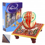 Blessings of Lord - Blessed Ganesha On Marble Chowki, Mini Celebrations & Card