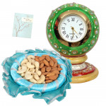 Clock Combo - Hand Painted Table Clock, Kaju Badam 100 gms & Card