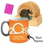 Foodie's Delight - Wooden Tea Coaster, Happy New Year Mug, Kanpoori Laddo 250 gms & Card