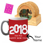 Foodie's Delight - Wooden Tea Coaster, Happy New Year Mug, Kanpoori Laddo 250 gms & Card