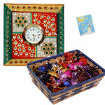 Watch Your Time - Meenakari Watch, Handmade Chocolates 250 gms in basket & Card