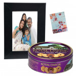 Frame of Joy - Wooden Black Photo Frame, Danish Butter Cookies 454 gms & Card