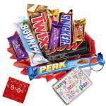 Happy & Gay - Happy New Year Key Chain, Snickers, Mars, Twix, Bounty , 5 Assorted Bars & Card