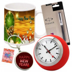 New Year Time - Happy New Year Key Chain, Mug, Table Watch, Parker Pen & Card