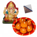 Blessings for All - Motichur Laddoo 250 gms, Ganesha Idol & Card