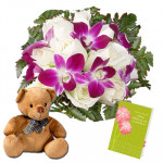 "Cute as You - 6 Purple Orchids & 12 White Roses + Teddy 6"" + Card"