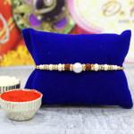 Elegant Pearl & Rudraksha Rakhi