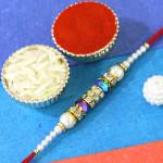 Ethnic Pearl & Diamond Rakhi
