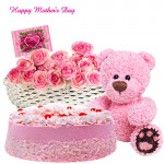 "Pink Hamper - 30 Pink Roses in Basket, Strawberry Cake 1/2 Kg , Pink Teddy 6"" and Card"