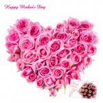 Pink Heart Arrangement - 30 Pink Roses Heart Arrangement and Card