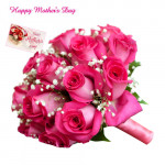Pink Roses - Bouquet of 50 Pink Roses and Card