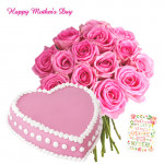 Pink Delight - Bouquet of 15 Pink Roses, Strawberry Heart Cake 1 kg and Card