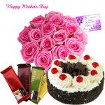 Pink Treat - 30 Pink Roses, 4 Temptations , 1/2 kg Black Forest Cake and Card