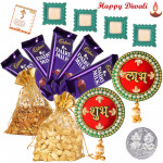 Potli Treat - 2 Dry Fruit Pouches 100 gms, 5 Dairy Milk Bars, Mango Shubh Labh with 4 Diyas and Laxmi-Ganesha Coin