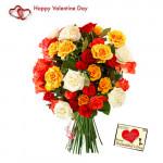 Valentine Mix Bouquet - 40 Mix Roses Bouquet + Card