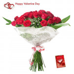 Valentine Blushing - 75 Red Roses Bunch + Card