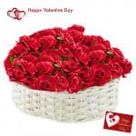 Valentine Basket - 40 Red Roses Basket + Card
