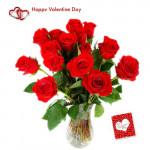 Red Roses Vase - 20 Red Roses Vase + Card