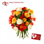 Mix Roses - 20 Mix Roses Bouquet + Card
