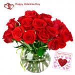 Roses Vase - 30 Red Roses in Vase + Card