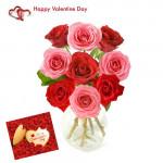 Valentine Roses Vase - 10 Red & 10 Pink Roses in Vase + Card