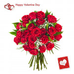 Valentine Roses Bunch - 30 Red Roses Bunch + Card
