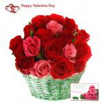 Pink & Red Basket - 25 Pink & Red Roses Basket + Card