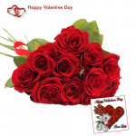 Red Roses - 50 Red Roses Bunch + Card