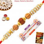 Glittering Rudraksha Golden Rakhi
