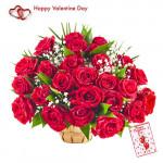 Valentine Love - 25 Red Roses Basket + Card