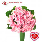 Pink Roses - 20 Pink Roses Bouquet + Card