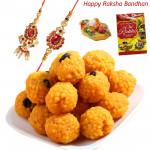 Beautiful Surprise - Kanpuri Ladoo with Bhaiya Bhabhi Rakhi Pair and Roli-Chawal