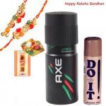 Precious Set - Axe Deo, Lomani Deo with Bhaiya Bhabhi Rakhi Pair and Roli-Chawal