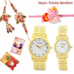 Bandhan Hamper - Sonata Bandhan Watch Yellow Dial Gold Strap with Kids Rakhi + Bhaiya Bhabhi Rakhi Pair and Roli-Chawal