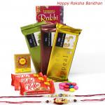 Rakhi Delight - Temptations Bars 3 pcs, 3 Kitkat , 1 Gems with 2 Rakhi and Roli-Chawal