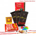 Chocolate Sensations - Cadbury Bournville 3 pcs, 3 Kitkat, 1 Gems with 2 Rakhi and Roli-Chawal