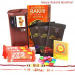 Fivestar Treat - 3 Cadbury Bournville, Temptations, 3 Kitkat , 1 Gems with 2 Rakhi and Roli-Chawal