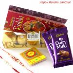 Amazing Chocolate Hamper - Ferrero Rocher 4 pcs, 2 Dairy Milk with 2 Rakhi and Roli-Chawal