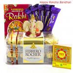 Special Combo - Ferrero Rocher 16 pcs, Dairy Milk Bars 5 pcs, Ganesh Idol with 2 Rakhi and Roli-Chawal