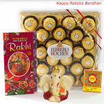 Ferrero Time - Ferrero Rocher 24 pcs, Ganesh Idol with 2 Rakhi and Roli-Chawal
