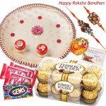 Sweet Choco Thali - Puja Thali (W), Ferrero Rocher 16 pcs, 3 Kitkat, 1 Gems with 2 Rakhi and Roli-Chawal