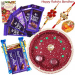 Awesome Combo - Puja Thali (M), Assorted 5 Bars, 5 Dairy Milk with 2 Fancy Rakhis and Roli-Chawal