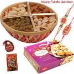 Sweet & Nuts - Assorted Dry Fruit 500 gms Basket, Haldiram Soan Papdi with 2 Rakhi and Roli-Chawal