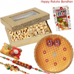 Dryfruit Delights - Cashew, Pista, Puja Thali (O) with 2 Rakhi and Roli-Chawal