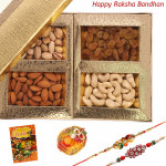 Rakhi Assortment - Assorted Dry Fruits with 2 Rakhi and Roli-Chawal