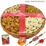 Dryfruit Basket - Assorted Dry Fruits Basket with 2 Rakhi and Roli-Chawal
