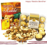 Assorted Wonder - Assorted Dry Fruits, Ferrero Rocher 16 Pcs, 2 Rakhis and Card